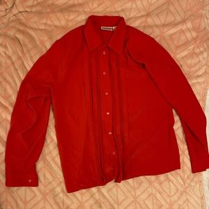 Bright Red VTG Button Up Blouse Size 12T